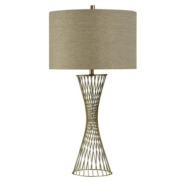 Cupertino Brass Table Lamp - Natural Linen Hardback Fabric Shade