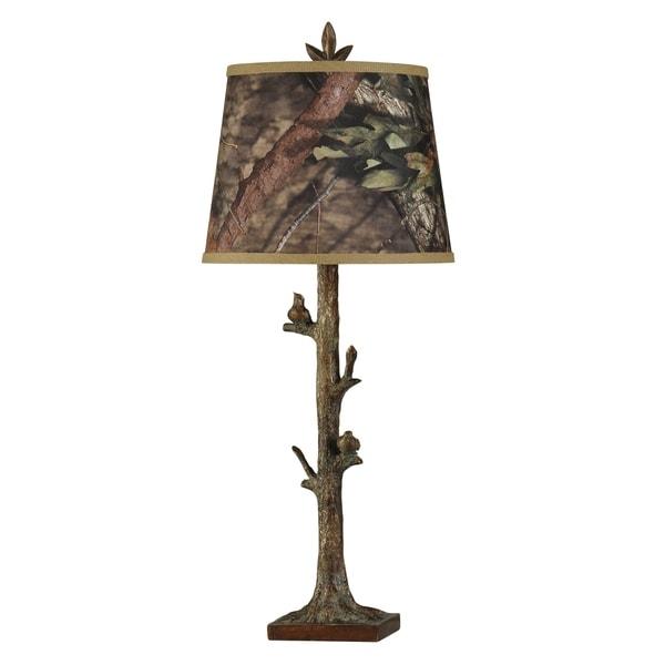 StyleCraft Mossy Oak Bronze Oak Table Lamp - Custom Camouflage Print Hardback Fabric Shade