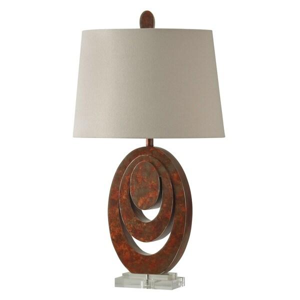Wellwood Rust Table Lamp - White Hardback Fabric Shade