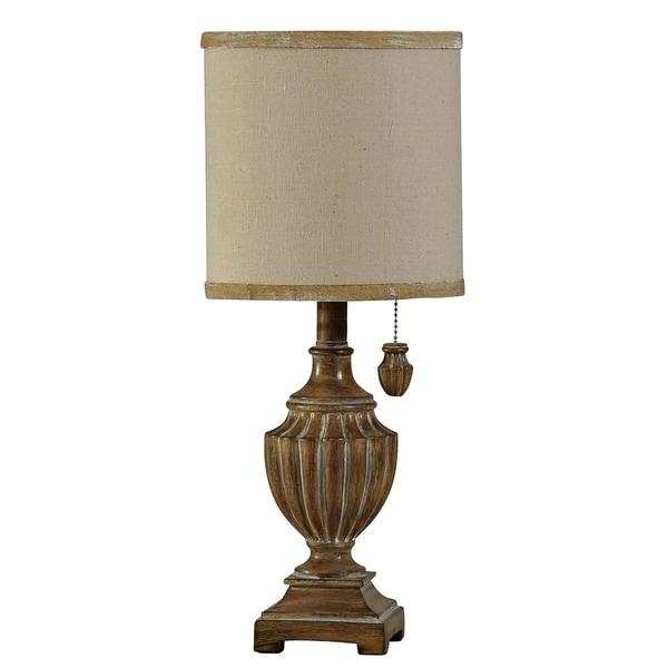 Kerala Brown Table Lamp - White Hardback Fabric Shade
