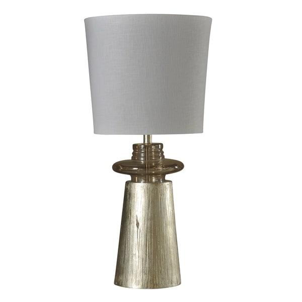 StyleCraft Gold Table Lamp - White Hardback Fabric Shade