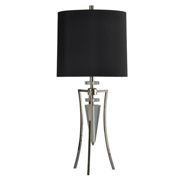 StyleCraft Crystal Table Lamp - Black Hardback Fabric Shade
