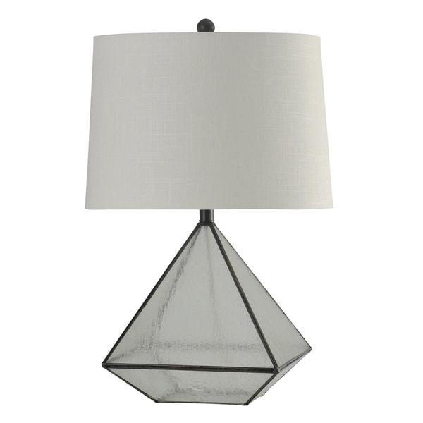 StyleCraft Burke Bronze Table Lamp - White Hardback Fabric Shade