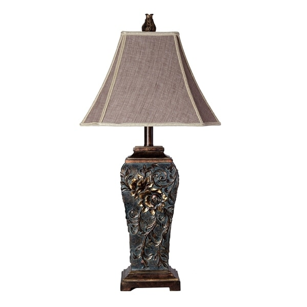 StyleCraft Compton Dark Blue Table Lamp - Gray Fabric Shade