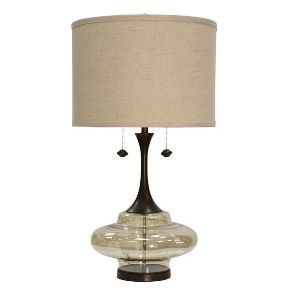 Weimer Dark Brown Table Lamp - Beige Hardback Fabric Shade