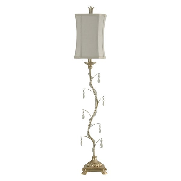 StyleCraft Arcene Silver Table Lamp - Taupe Softback Fabric Shade