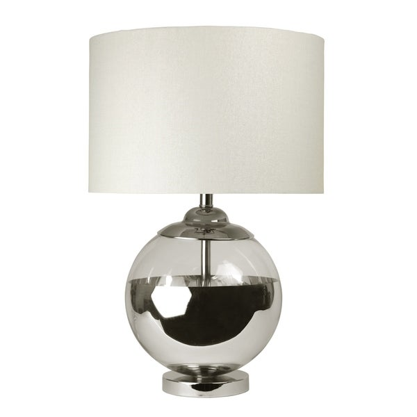 Chrome and Mercury Ball Table Lamp - White Hardback Fabric Shade
