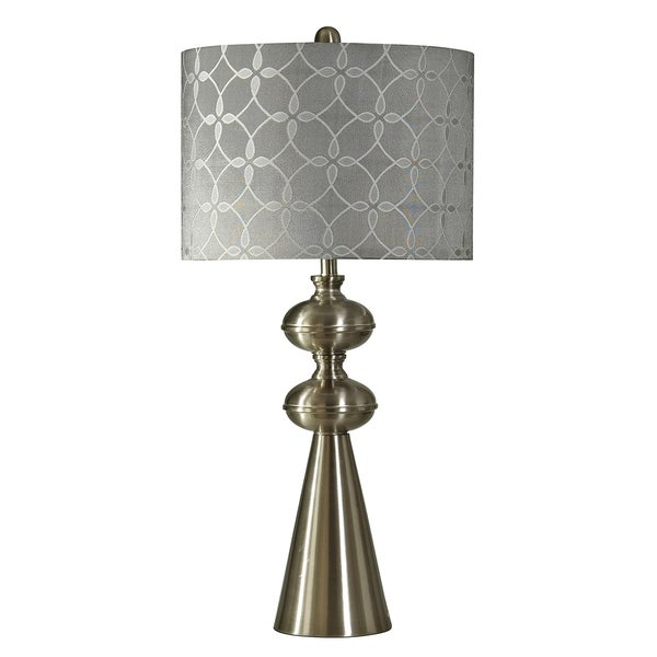 Brushed Steel Table Lamp - White and Silver Hardback Fabric Shade