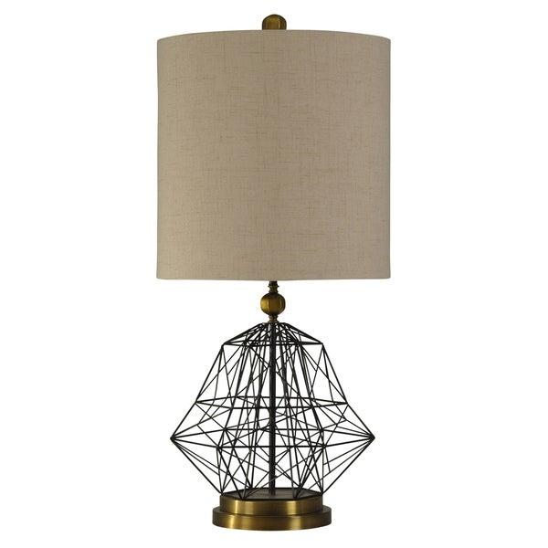 Satin Black and Hawthorne Gold Table Lamp - Beige Hardback Fabric Shade