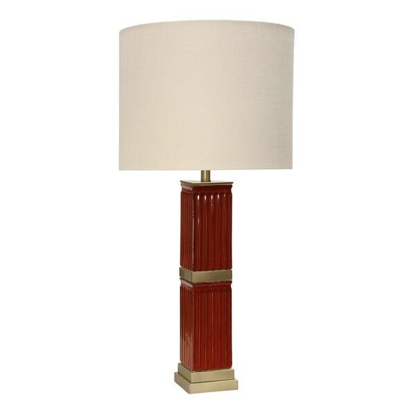 StyleCraft Tifton Ceramic Red Table Lamp - White Hardback Fabric Shade
