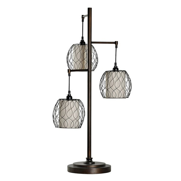 Contemporary Bronze Table Lamp - Brown And White Hardback Fabric Shade
