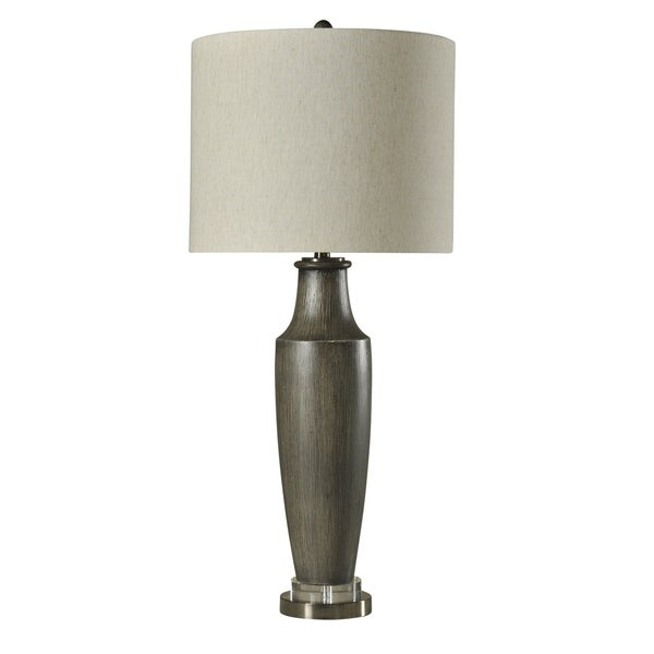 Lereto Gray Table Lamp - White Hardback Fabric Shade