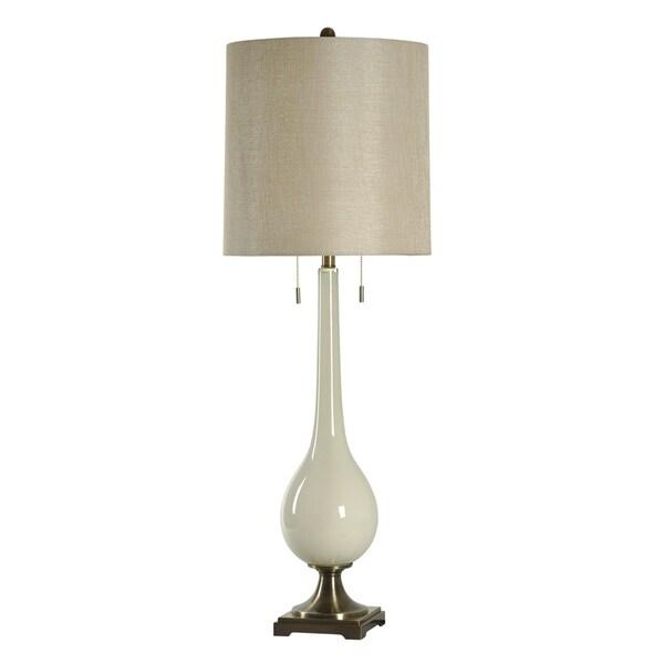 StyleCraft Lazio White Table Lamp - Beige Hardback Fabric Shade