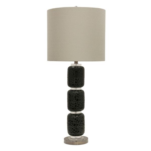 StyleCraft Jane Seymour Corbita Ceramic Black Table Lamp - Beige Hardback Fabric Shade