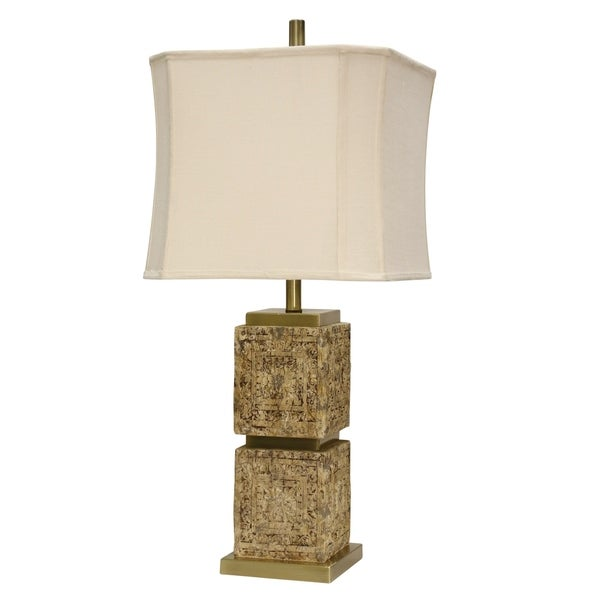 Ham Lin Brown Table Lamp - White Softback Fabric Shade