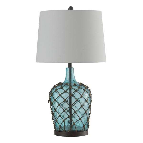 Cayos Blue Table Lamp - White Hardback Fabric Shade