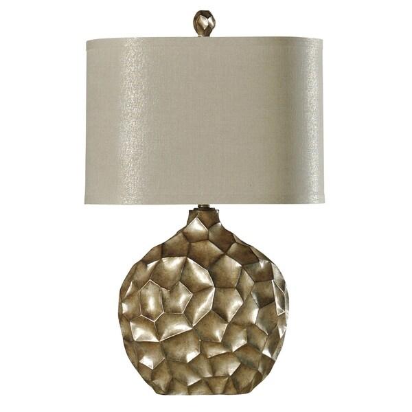 Contemporary Georgian Silver Table Lamp - Cream Hardback Fabric Shade