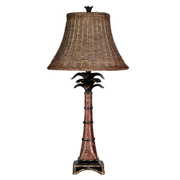 StyleCraft Dundee Accent Faux Red Crocodile Hide And Black Table Lamp - Brown Woven Rattan Shade