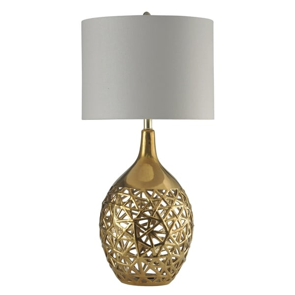 Arela Ceramic Gold Table Lamp - White Hardback Fabric Shade