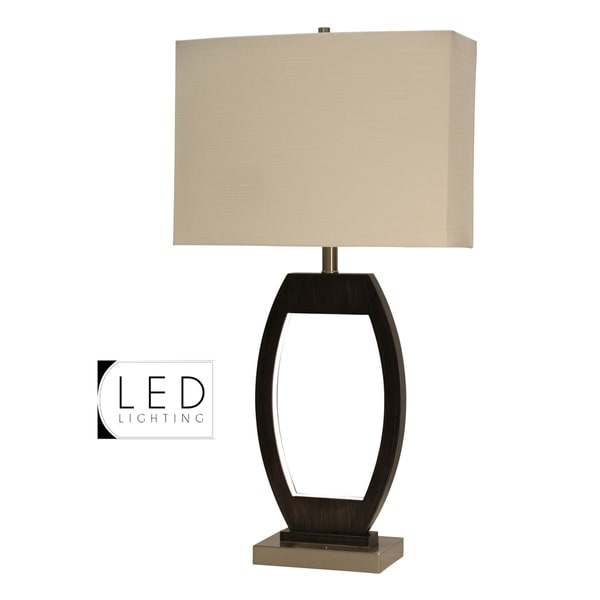 Ferndale Black and Brushed Steel Table Lamp - Beige Hardback Fabric Shade