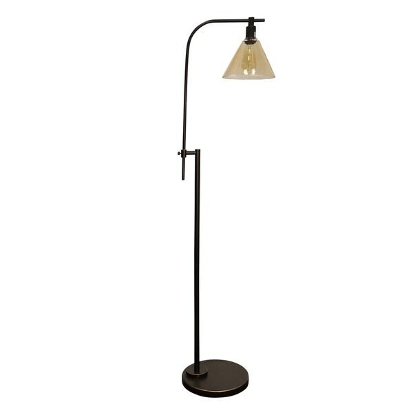 StyleCraft Madison Bronze Floor Lamp - Yellowed Glass Shade