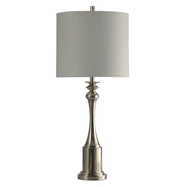 StyleCraft Polished Nickel Table Lamp - White Hardback Fabric Shade