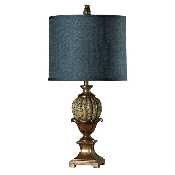 StyleCraft Sardinia Gold Table Lamp - Blue Hardback Silk Blend Fabric Shade