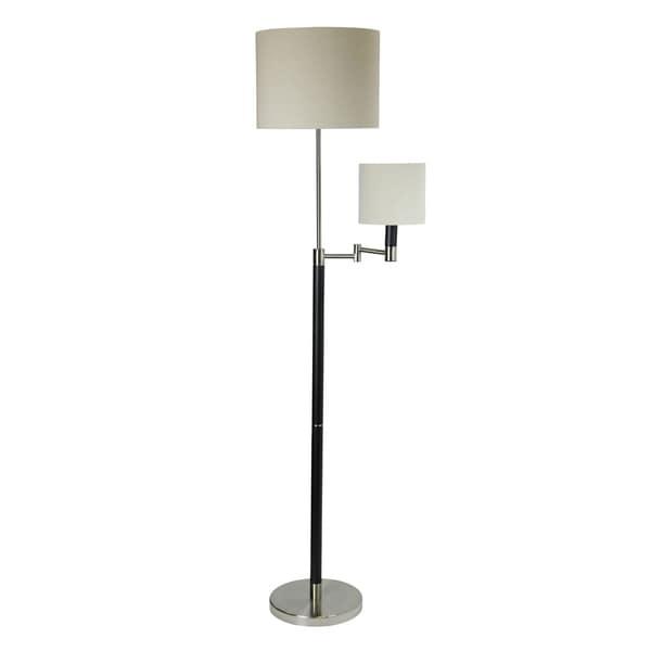 Black And Polished Steel Floor Lamp - White Hardback Fabric Shade