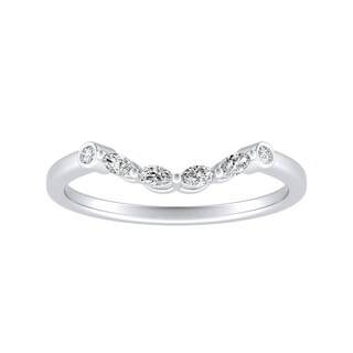 Auriya Platinum 1/10ct TDW Round and Marquise Contoured Diamond Wedding Band (More options available)