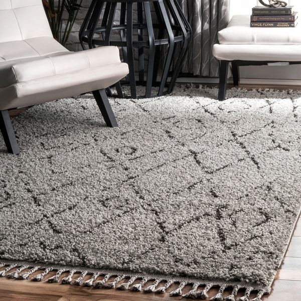 Shop NuLOOM Grey Abstract Soft And Plush Moroccan Diamond