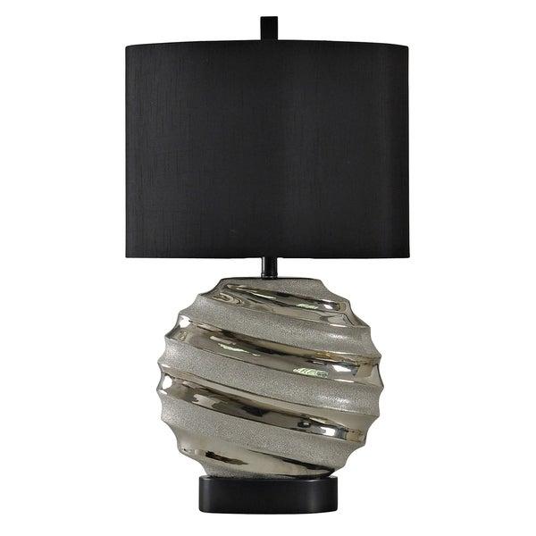 Ceramic Silver Table Lamp - Black Hardback Fabric Shade