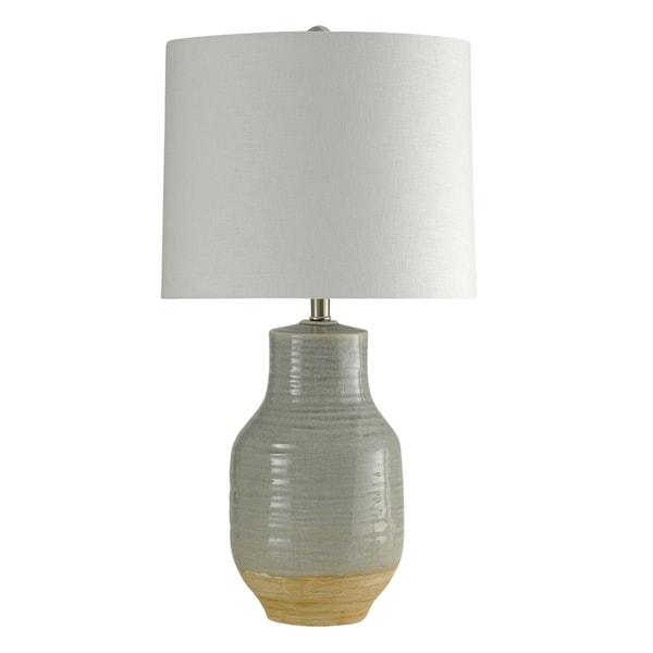 Prova Ceramic Gray Table Lamp - White Hardback Fabric Shade