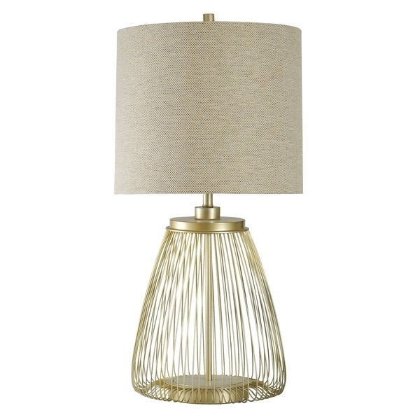 StyleCraft Cupertino Brass Table Lamp - Beige Hardback Fabric Shade