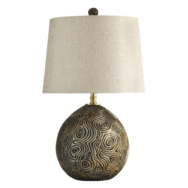 William Magnum Mooresville Distressed Gold Table Lamp - White Hardback Fabric Shade