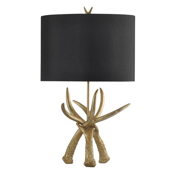 StyleCraft Gold Leaf Table Lamp - Black Hardback Fabric Shade