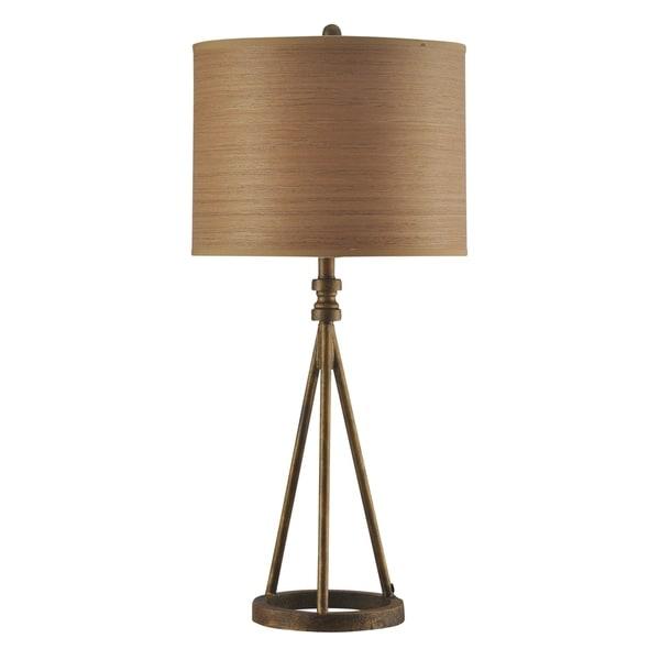 Millbrook Antique Brass Table Lamp - Brown Hardback Fabric Shade