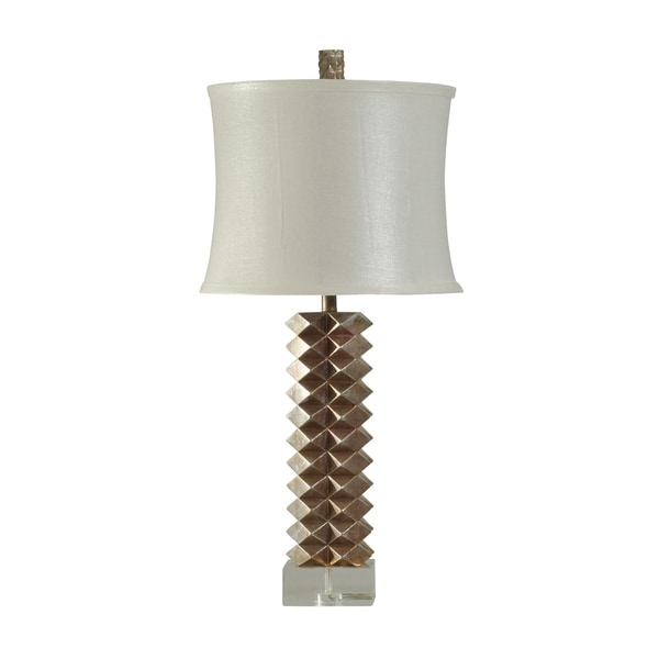 Brianza Contemporary Bronze Table Lamp - White Softback Fabric Shade