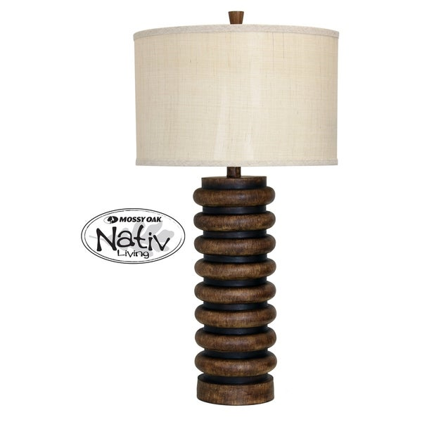 Dark Teak Table Lamp - Cream Hardback Fabric Shade
