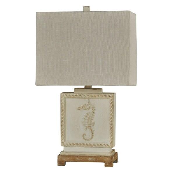 Whitestone Point White Table Lamp - White Hardback Fabric Shade