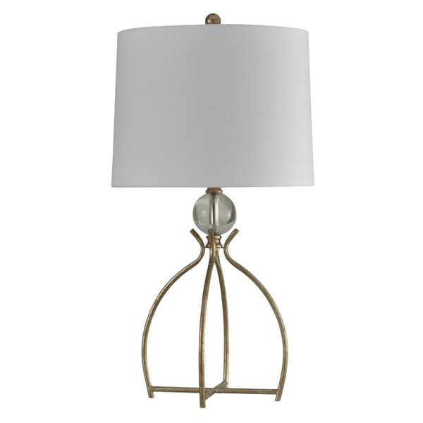 StyleCraft Valier Gold and Crystal Table Lamp - White Hardback Fabric Shade