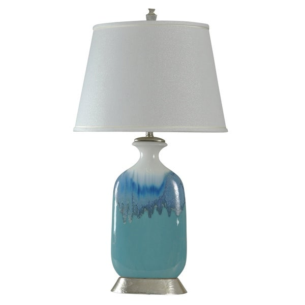 Beach Grove Ceramic Blue Glaze Table Lamp - White Hardback Fabric Shade