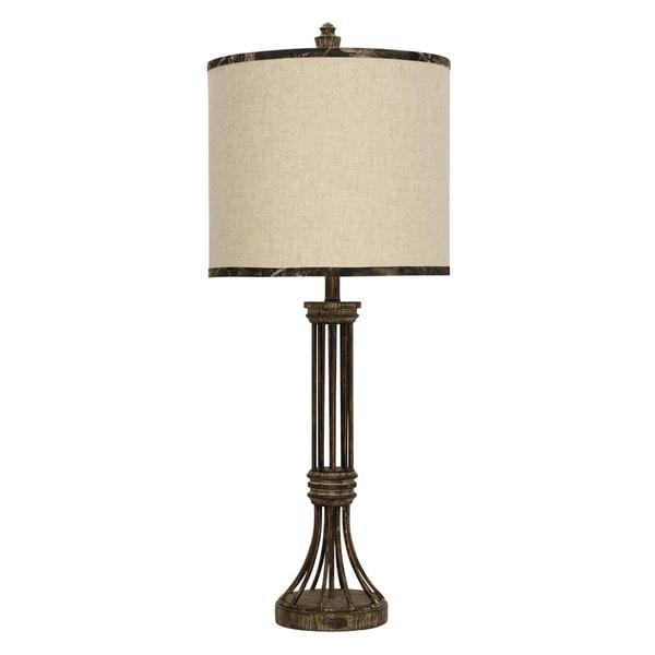 StyleCraft Mossy Oak Kolki Brown Table Lamp - Beige Hardback Fabric Shade