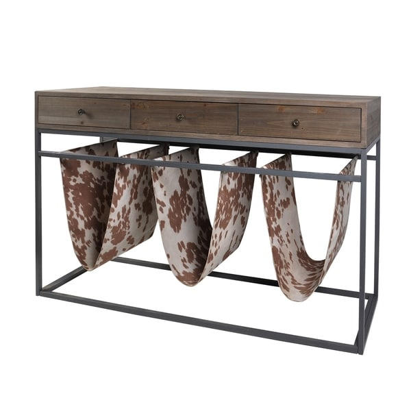 Bryan Keith Dixon Magazine Sling Rack with Wooden Top and Drawers