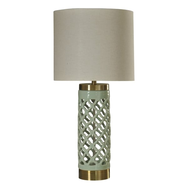 Korma Ceramic Mint and Gold Table Lamp - White Hardback Fabric Shade