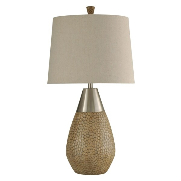 StyleCraft Nicobar Brown and Brushed Steel Table Lamp - Beige Hardback Fabric Shade
