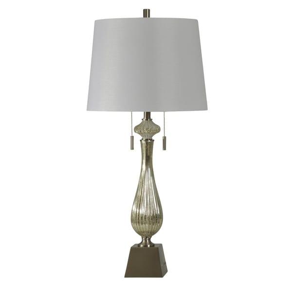 StyleCraft Ivory Mercury Table Lamp - White Hardback Fabric Shade