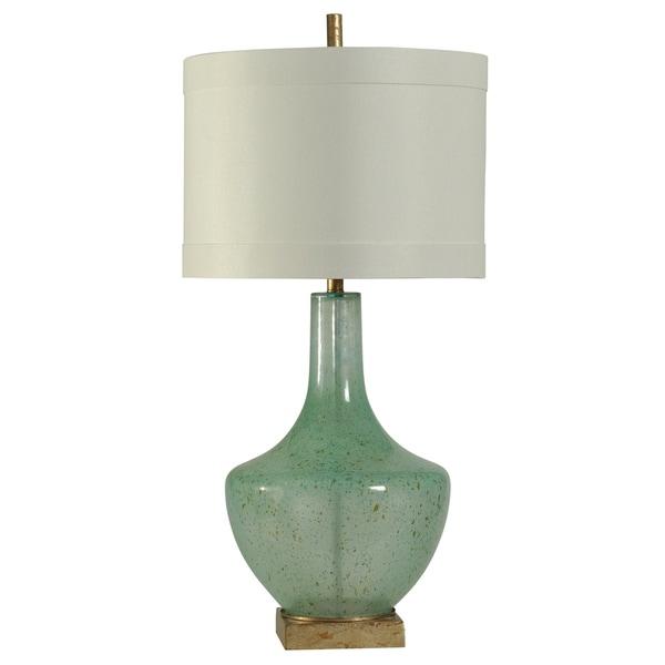 StyleCraft Catskill Turquoise Table Lamp - White Hardback Silk Blend Shade