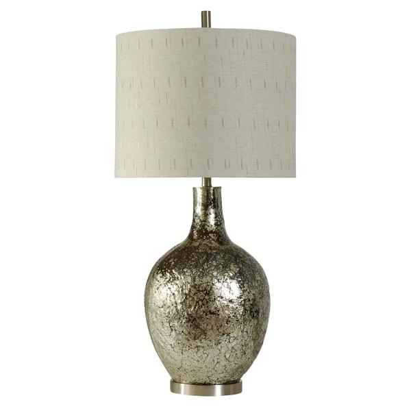 Navarro Silver Table Lamp - White Hardback Fabric Shade