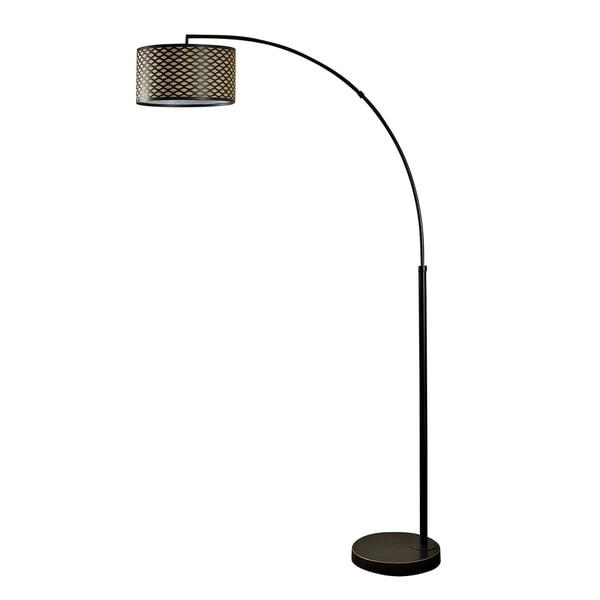 StyleCraft Madison Bronze Floor Lamp - Black And Yellow Hardback Fabric Shade