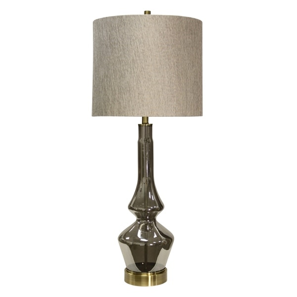 Burgetts Smoke Glass Table Lamp - Beige Hardback Fabric Shade